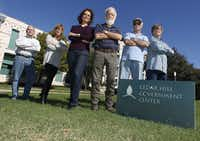 <p>Six residents disturbed by what they call their town officials' conflicts of interest have been closely monitoring town business. From left: Tom Myers, Terri Sengbush, Katie Myers, Wes Pool, M.G. Johnson and Larry Sengbush.</p>(File Photo/Staff)