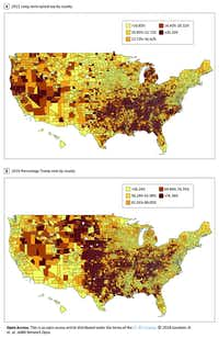 Map A shows the counties where residents had the highest percentage of long-term opioid use in 2015. Map B shows the the percentage of votes by county for presidential candidate Donald Trump in 2016.(JAMA Network Open)