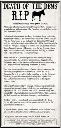 The Republican Party of Texas is running an ad designed to look like an obituary in The Fort Worth Star-Telegram in Fort Worth, Texas, on Friday, June 22, 2018, to poke fun at the Texas Democratic Party.(Courtesy)