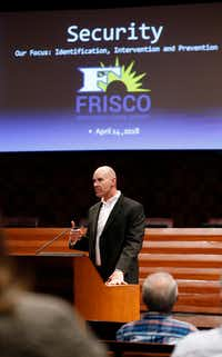 Frisco Superintendent Mike Waldrip talks about safety improvements in the school district at Frisco city hall on April 13, 2018.(Nathan Hunsinger/Staff Photographer)