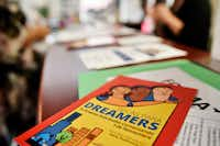 Scholarship information for Dreamers displayed at a education information window inside the Mexican Consulate in Dallas on Tuesday, June 12.(Ben Torres/Special Contributor)