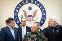 Senators Ted Cruz (left) and John Cornyn (right) join U.S. Border Patrol, RGV Sector, Chief Manuel Padilla to address a press conference following a roundtable discussion at the Weslaco Border Patrol Station on Friday, June 22, 2018, in Weslaco, Texas. The Texas Senators held the roundtable with representatives of federal agencies, non-profits and local elected officials involved in handling immigrant families. (Smiley N. Pool/Staff Photographer)