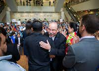 Gilberto Hinojosa gets a hug from a supporter after speaking during a Families First Rally at the Texas Democratic Convention on Saturday, June 23, 2018 at the Fort Worth Convention Center in Fort Worth.(Ashley Landis/Staff Photographer)