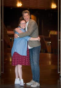 Actress Michelle Dowdy is pictured with Joel Ferrell, associate artistic director of Dallas Theater Center at AT&amp;T Performing Arts Center. Dowdy will star as Tracy Turnblad, a part she played on Broadway, in <i>Hairspray </i>for the Dallas Theater Center in collaboration with AT&amp;T Center at Winspear Opera House July 7-15.(Robert W. Hart/Special Contributor)