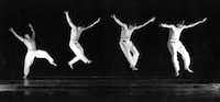 """David Parsons performs his signature work, """"Caught"""" which uses strobe lighting to catch him in midair seeming to fly.(Parsons Dance)"""