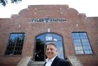 Monte Anderson poses for a portrait in front of Tyler Station in Dallas on Tuesday, June 19, 2018. Tyler Station is a mixed use space with a co-working element(Vernon Bryant/Staff Photographer)
