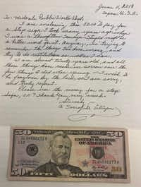 A $50 bill was mailed along with an apology letter sent from Texas to a Utah town where the sender says stole a stop sign in the early 1940s.(Midvale City)