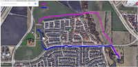 A map provided by the city of Plano shows the two possible routes for moving the Collinwood house from its existing spot south of Windhaven Parkway to a temporary spot just east of Parkwood Boulevard. The route marked in pink, which is mostly on private land, is the preferred route.(Courtesy city of Plano)