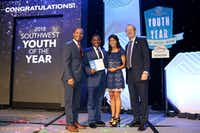 From left: Disney World Ambassador Ken Facey, Southwest Youth of the Year winner Malachi Haynes, former Southwest Youth of the Year Fernanda Alcantara and Jim Clark, president and CEO of Boys & Girls Clubs of America, are shown at the Southwest Youth of the Year Celebration June 11 at the Hyatt Regency Dallas.(Picasa)