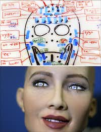 A design for one of Hanson Robotics' heads in 2006, and Sophia in 2017.(Brandon Thibodeaux (top)/AFP-Getty Images (bottom))