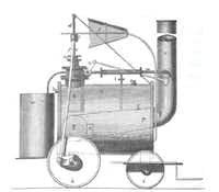 A reconstruction of Richard Trevithick Jr.'s first common road locomotive, 1801. From <i>Energy</i>, by Richard Rhodes.  (Simon & Schuster)