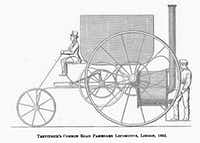 "Richard Trevithick Jr.'s steam-powered horseless carriage, from 1803. It was dubbed ""Trevithick's Dragon"" and chugged around London for six months. From <i>Energy</i>, by Richard Rhodes. (Simon & Schuster)"
