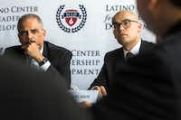 "<p><span style=""font-size: 1em; background-color: transparent;"">Former U.S. Attorney General Eric Holder (left) and Miguel Solis, president of the Latino Center for Leadership Development and a Dallas school board member, listened to a speaker at the center in Dallas on Tuesday.</span></p>(Carly Geraci/Staff Photographer)"