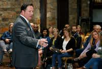 Rick McDaniel, McKinney ISD superintendent, addresses the audience at a town hall on school safety on April 4 in McKinney.(Stewart F. House/Special Contributor)