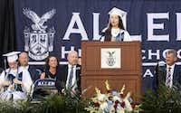 Valedictorian Samantha Cheng delivers her speech during the Allen High School graduation at Eagle Stadium in Allen, Texas, Friday evening, June 1, 2018. (Anja Schlein/Special Contributor)(Anja Schlein/Special Contributor)