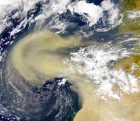 This satellite image shows a plume of dust spreading from Africa like milky coffee.(National Oceanic and Atmospheric Administration)