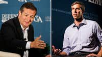 Rep. Beto O'Rourke of El Paso, right, is challenging Sen. Ted Cruz in 2018.  (Rose Baca & Ashley Landis/The Dallas Morning News)