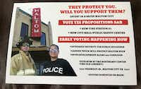 Campaign mailing created by Haltom City firefighters' political action committee.
