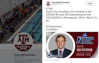 A since-deleted tweet by Texas A&M University's Swimming and Diving team promoted Austin Van Overdam's upcoming swimming competition.(Twitter/@AggieSwimDive)