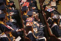 It's common for graduating seniors to decorate their caps with the logo of the college they plan to attend.(Anja Schlein/Special Contributor/File)