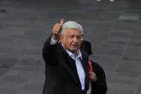 Andres Manuel Lopez Obrador gives a thumbs-up after casting his vote on July 1, 2018 in Mexico City, Mexico.(Gerardo Vieyra/DPA/<p>DPA/Abaca Press/TNS</p>)