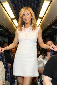 Author Emily Giffin surprises riders on On Location Tours on April 28, 2011 in New York City. (Taylor Hill/Getty Images)