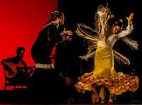 "Valeria Montes, right, performing with singer Ana Maria Polanco, is one of the leading flamenco dancers in the United States. She headlines Ida y Vuelta's Flamenco's July 7 Dallas show, ""Bienvenidos! Valeria.""(Sara Sarraf)"
