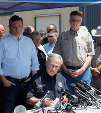 "<p><span style=""font-size: 1em; background-color: transparent;"">Texas Sen. Ted Cruz (from left), Gov. Greg Abbott and Lt. Gov. Dan Patrick spoke during a press conference about the shooting at Santa Fe High School on May 18, 2018 in Santa Fe, Texas. At least 10 people were killed when a gunman opened fire. </span></p>(Bob Levey/Getty Images)"