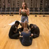 Angie Hogue, 16, acts as a teacher who witnessed the Sandy Hook shooting in Newtown, Conn., during a rehearsal of Cry Havoc Theater's <i>Babel</i>.(Carly Geraci/Staff Photographer)