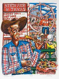 <i>Corny Dog</i>, by David Bates, is part of his 2018 show at the Tyler Museum of Art. David Bates (b. 1952). <i>Corny Dog, 1986</i>. Lithograph, 27    x 21 inches. Tyler Museum of Art Permanent Collection(Tyler Museum of Art)