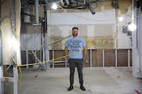 Chef Chad Houser, founder of Cafe Momentum, stands in the space of a planned community services center in the tunnels underneath the area at Thanks-Giving Square in downtown Dallas.(Andy Jacobsohn/Staff Photographer)