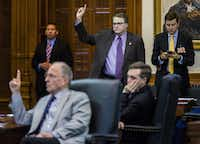 Sen. Bob Hall, R-Edgewood, left, and Sen. Brian Birdwell, R-Granbury, voted for SB 11, legislation relating to allowing concealed handguns on college campuses, during the final days of the 84th Texas legislature regular session in 2015. (Ashley Landis/Staff Photographer)