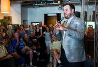 Democratic candidate for Texas senate district 2 Kendall Scudder spoke during a town hall meeting hosted by the Funky East Dallas Democrats at 2018 Kidwell Street on July 2. (Ashley Landis/Staff Photographer)
