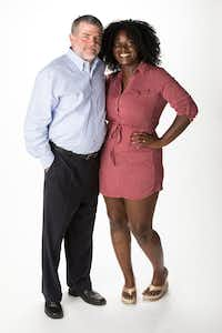 Downtown Dallas shooting civilian survivor Shetamia Taylor and Dallas police Detective Greg Weatherford photographed on Friday, June 29, 2018, in Dallas. The pair formed a friendship after he ran to  her and covered her until she was taken to Baylor for her bullet-wounded leg. Two years later they talk or text nearly daily.(Smiley N. Pool/Staff Photographer)