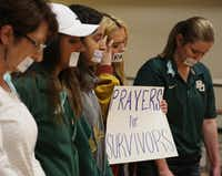 """Current and former Baylor students held a rally in June 2016 warning of sexual assaults on and off campus in Waco, Texas. A former athletic director at Baylor University, Ian McCaw, has claimed regents schemed to make black football players scapegoats for sexual assault at the school. Ten women are suing the school over how it handled their allegations of sexual assault.(Rod Aydelotte/<p><span style=""""font-size: 1em; background-color: transparent;"""">Waco Tribune Herald</span></p>)"""