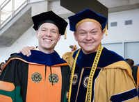 Researcher Jonathan Reeder poses with his doctoral adviser, Walter Voit.(University of Texas at Dallas)