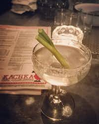 Kachka's outstanding Infernal Queen cocktail features house-infused horseradish vodka, gin, Scandinavian aquavit (a caraway-flavored spirit), kummel (a French caraway-flavored liqueur), celery bitters, scallion and salt.(Marc Ramirez/Staff)