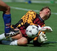 6-27-94--Germany's goalkeeper saves a shot against South Korea during the World Cup 1994 in Dallas.(Eric Schlegel/DMN)