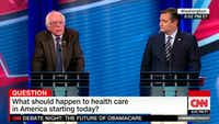 Frame grab from CNN health care debate on Feb. 7, 2017, between Sens. Bernie Sanders and Ted Cruz.(CNN)