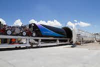 Virgin Hyperloop One has a test track in the Nevada desert. Dallas-Fort Worth area transportation officials visited the site to see the development of hyperloop technology. The pods resemble a railroad car. They would have seating that's similar to the cabin of a plane or the inside of a train.(Alexander Esseveld)