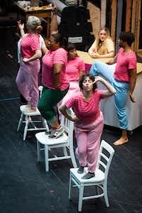 The largely female cast, clockwise from bottom, Marti Etheridge, Becki McDonald, Angela Davis, Danielle Georgiou, Kelli Howard and Colby Calhoun, rehearse a musical number from <i>Just Girly Things</i>, which deals primarily with how women treat one another. The latest show from the Danielle Georgiou Dance Group premieres at the Festival of Independent Theatres.(Smiley N. Pool/Staff Photographer)