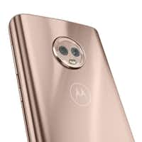 The Moto G6 main camera does protrude a bit from the back, keeping it from sitting flush on your desk.(Motorola)