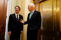 Supreme Court nominee Brett Kavanaugh mets with Sen John Cornyn of Texas at the Senate on Wednesday.(Evan Vucci/AP)
