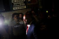 Colin Allred spoke to supporters during an election night party at Ozona Grill and Bar in Dallas on May 22, 2018, after he won the Democratic nomination in the 32nd Congressional District. Now he faces longtime U.S. Rep. Pete Sessions.  (Andy Jacobsohn/Staff Photographer)