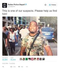 Dallas police tweeted out a picture of Hughes carrying a rifle during the protest that preceded the ambush.