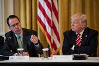 AT&T CEO/president/chairman/Big Kahuna Randall Stephenson (left) with President Donald Trump during an event at the White House in 2017.(Jabin Botsford/The Washington Post)