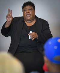 Alice Robinson, president of Positive Reflection Ministries, tells her story during the Cara Mia Theatre Company presentation of Our Stories at the Oak Cliff Cultural Center on June 16, 2018 in Dallas. (Robert W. Hart/Special Contributor)