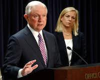 FILE - In this Tuesday, Dec. 12, 2017, file photo, U.S. Attorney General Jeff Sessions, left, speaks alongside Secretary of Homeland Security Kirstjen Nielsen during a news conference in Baltimore. (Patrick Semansky/The Associated Press)