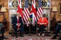 President Donald Trump and Britain's Prime Minister Theresa May meet at Chequers, the prime minister's country residence, near Ellesborough, northwest of London on Friday.(JACK TAYLOR/AFP/Getty Images)