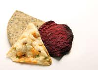 Pressed Vegetable Chips (top left), Chickbean Crisps (bottom left), and Kiwa Beet Root Chips (right)(Vernon Bryant/Staff Photographer)